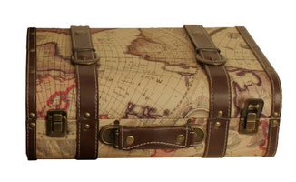 Suitcase Map Faux Leather-Wald Imports