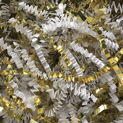 Spring-Fill Crinkle Cut Paper Shred, 40lbs White & Gold Blend-Wald Imports