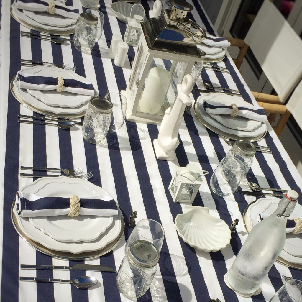 Anchor Nautical Stripe Party Table Setting