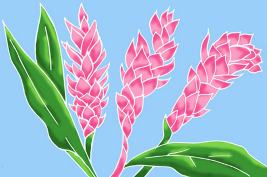 Painted Sarong - Torch Ginger