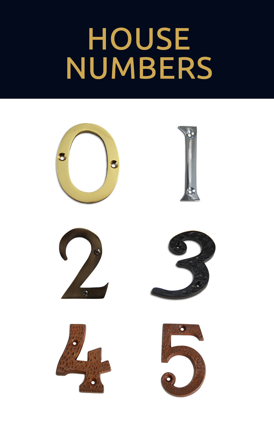 Browse our house numbers collection for metal house numerals on your home's doors and walls