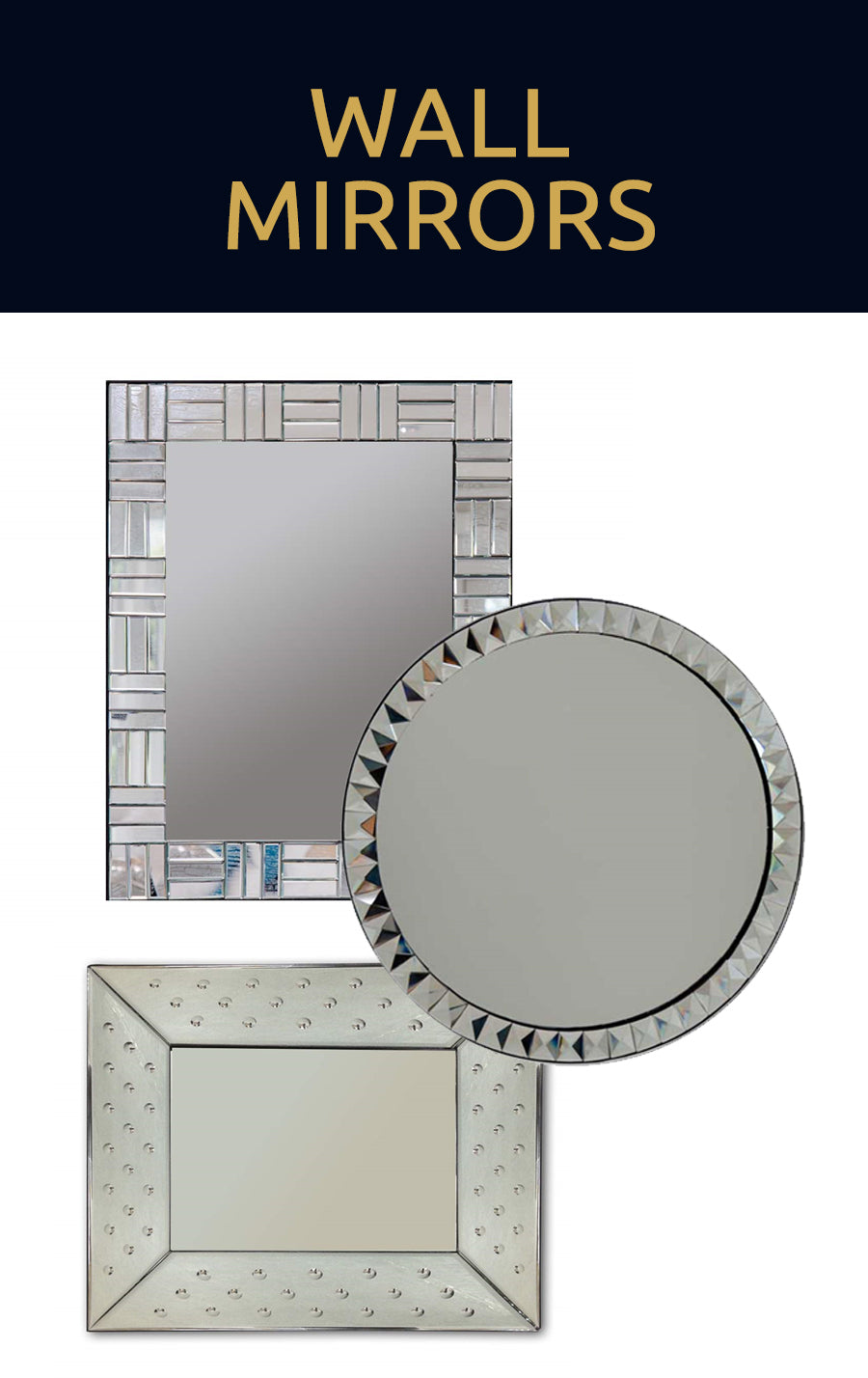 Browse our hand crafted decorative glass wall mirror collection for elegant home decor