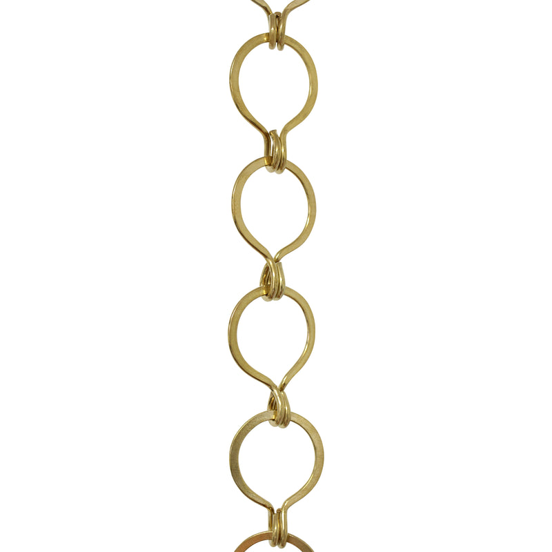 Chain BR04R-U Round Chandelier Chain with Unwelded Brass links, Antique Brass