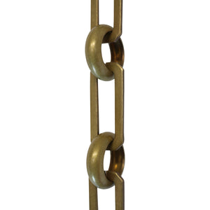 Chain BR10-U Rectangle Chandelier Chain with Unwelded Brass links and Round Joining links, Antique Brass