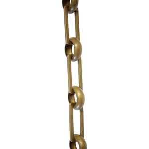 Chain BR19-U Rectangle Chandelier Chain with Unwelded Brass links and Round Joining links, Antique Brass