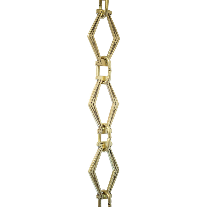 Chain BR22-U Vintage Chandelier Chain with Unwelded Brass links and Oval Joining links, Antique Brass
