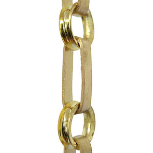 Chain BR27-W Rectangle Chandelier Chain with Welded Brass links and Round Joining links, Antique Brass
