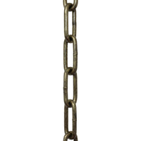 Chain ST59-W Standard Link, Coil Chandelier Chain with Oval Welded Steel links, Antique Brass