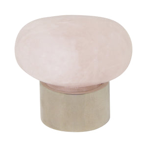 Rose Quartz Cabinet Knob RQOV-36NQ, Antique Brass