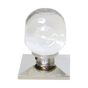 Crystal Door Knob CYSQ-43CLR, Polished Nickel