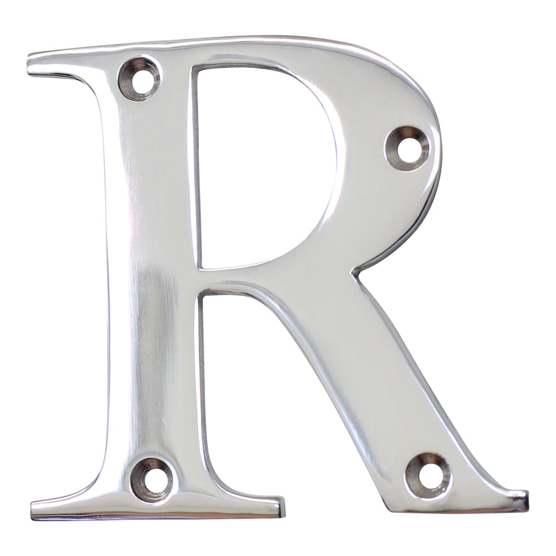 Letter BR2350 Modern, Serif House Letter, Polished Chrome