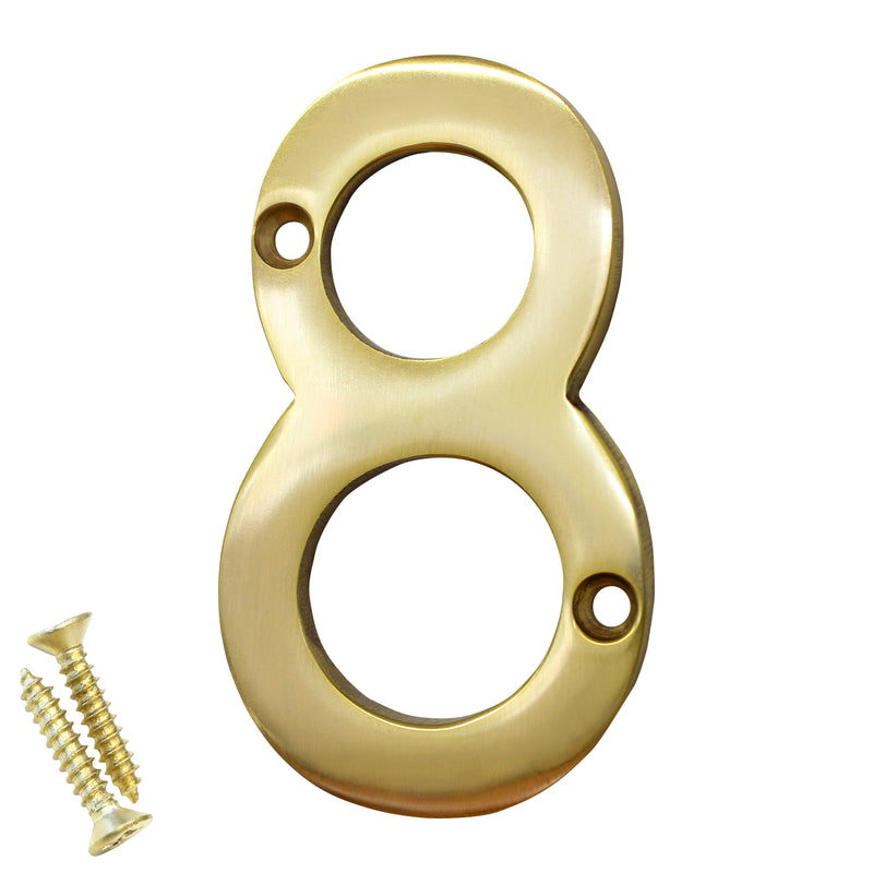 Number BR2270 Modern, Serif House Number, Polished Brass