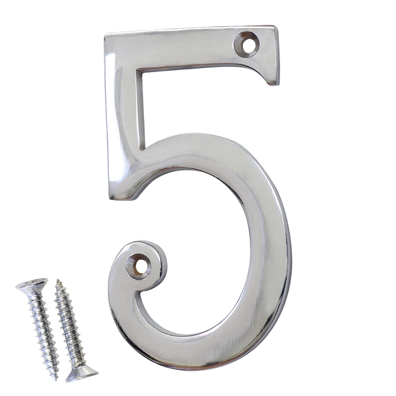 Number BR2271 Modern, Serif House Number, Polished Chrome