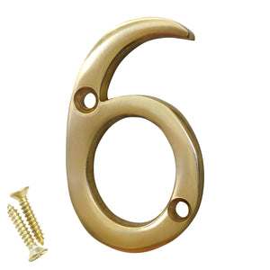 Number BR235 Modern, Serif House Number, Polished Brass