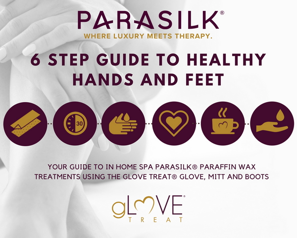 6 step guide to in home spa Parasilk® paraffin wax treatments with gLOVE Treat®: Infographic
