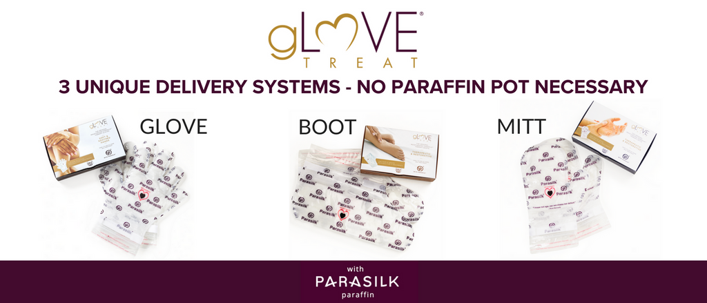 3 unique delivery systems no paraffin pot necessary by gLOVE Treat with Parasilk Paraffin Wax