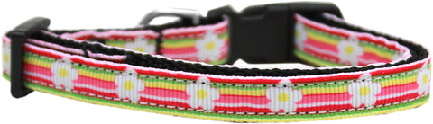 Striped Daisy Nylon Ribbon Cat Kitten Safety Collar