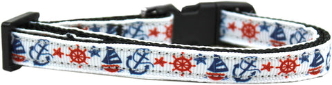 Anchors Away Nylon Ribbon Cat Kitten Safety Collar