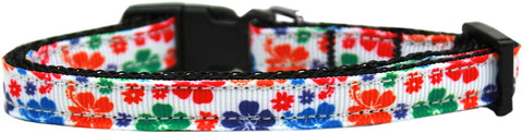 Multi-Colored Hawaiian Hibiscus Nylon Ribbon Cat Kitten Safety Collar