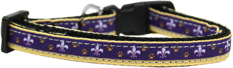 Purple and Yellow Fleur de Lis Nylon Ribbon Cat Kitten Safety Collar