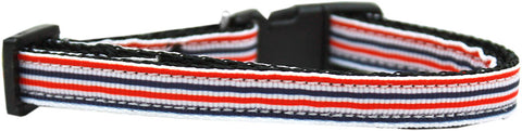 Patriotic Stripes Nylon Ribbon Cat Kitten Safety Collar