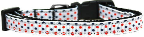 Patriotic Polka Dots Nylon Ribbon Cat Kitten Safety Collar