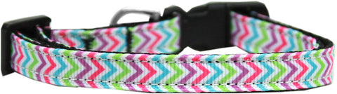 Summer Chevrons Nylon Ribbon Cat Kitten Safety Collar