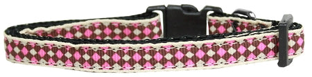 Pink Checkers Nylon Cat Kitten Safety Collar