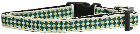 Green Checkers Nylon Cat Kitten Safety Collar