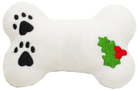 Plush Christmas Dog Toy with Squeaker Holly Bone Dog Pet Puppy Christmas Toy