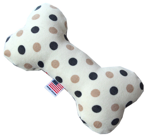 "6"" Plush Bone Dog Pet Puppy Chew Squeaker Toy Beach Dots"