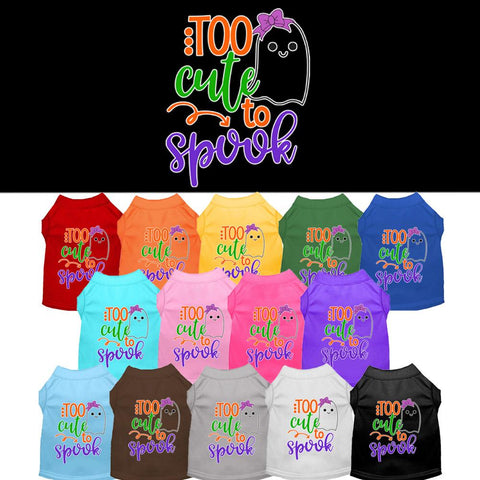 Too Cute to Spook-Girly Ghost Screen Print Pet Puppy Cat Dog Shirt