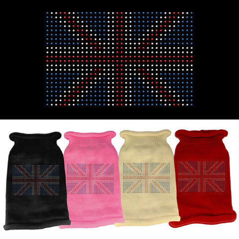 British Flag Rhinestone Knit Dog Cat Puppy Pet Sweater Winter Apparel