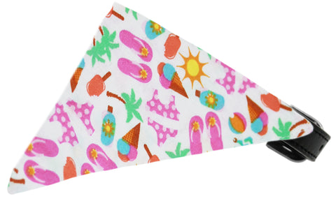 White Summer Fun Dog Pet Puppy Bandana Collar