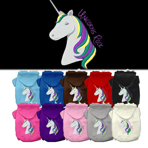 Unicorns Rock Embroidered Dog Hoodie Hooded Winter Apparel