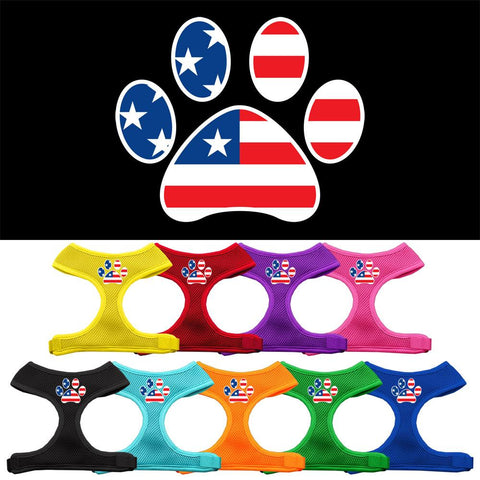 Paw Flag USA Screen Print Soft Mesh Dog Pet Puppy Harness