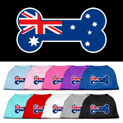 Bone Shaped Australian Flag Screen Print Dog Cat Pet Puppy Shirt