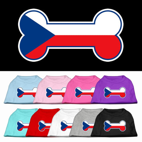 Bone Shaped Czech Republic Flag Screen Print Dog Cat Pet Puppy Shirt