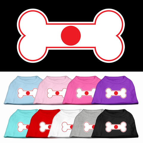 Bone Shaped Japan Flag Screen Print Dog Cat Pet Puppy Shirt