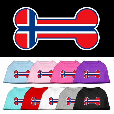 Bone Shaped Norway Flag Screen Print Dog Cat Pet Puppy Shirt