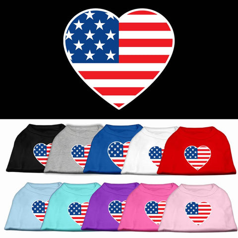 American Flag Heart Screen Print Dog Cat Pet Puppy Patriotic Shirt
