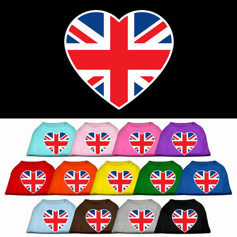 British Flag Heart Screen Print Dog Cat Pet Puppy Shirt