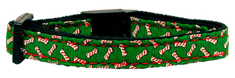 Candy Cane Bones Nylon and Ribbon Cat Kitten Safety Collar