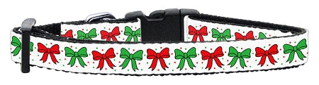 Christmas Bows Nylon Ribbon Cat Kitten Safety Collar