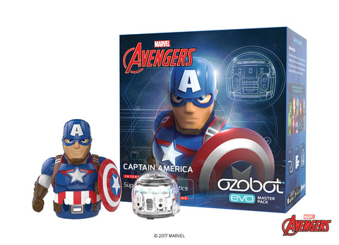 Ozobot Evo Starter Pack, w/ bonus connectable smart skin, Captain America