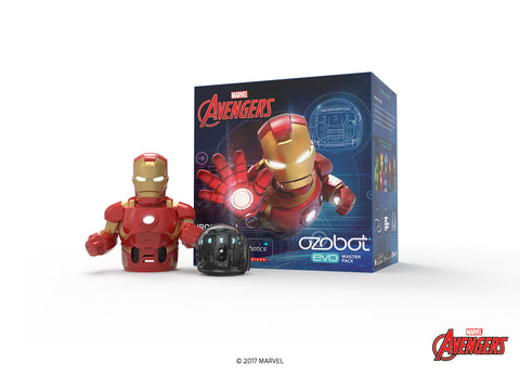 Ozobot Evo Starter Pack, w/ bonus connectable smart skin, Iron Man