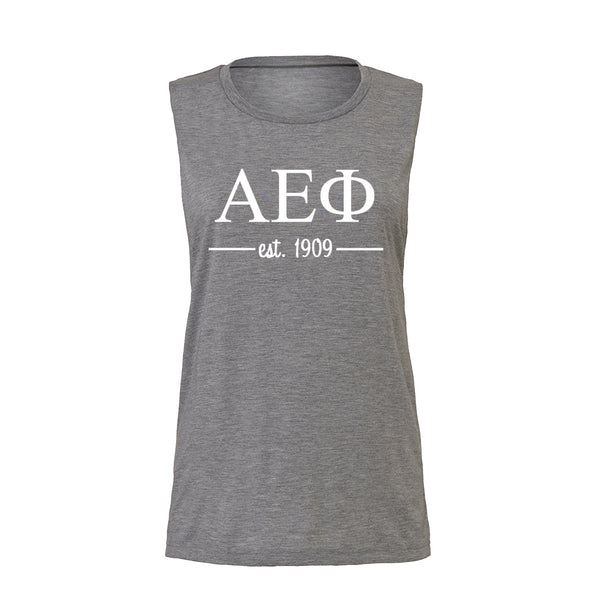 Alpha Epsilon Phi Sleeveless Tee with Est. 1909
