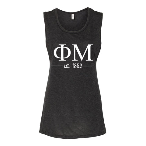 Phi Mu Sleeveless Tee with Est. 1852