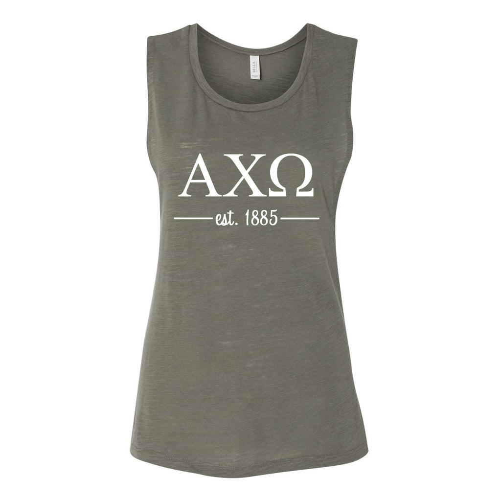 Alpha Chi Omega Sleeveless Tee with Est. 1885