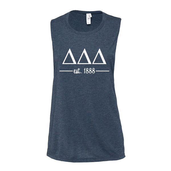 Delta Delta Delta Sleeveless Tee with Est. 1888